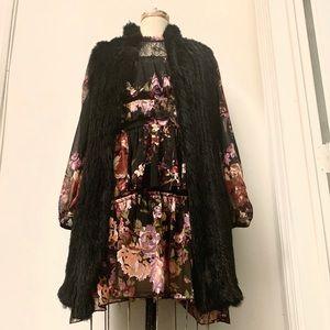 Long Black Rabbit Fur Vest